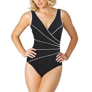 Miraclesuit Kirkland 1 Piece Swimsuit Slimming Swimwear Sz-10~Black White