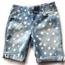 Tractor Girl's Pull on Stretch Denim Bermuda Shorts~Sz-12~Faded Blue Stars~NEW