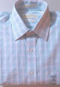 Michael Kors Men's Dress Regular Fit Check Shirt~Aloe Green~Sz-16 36/37~NWT