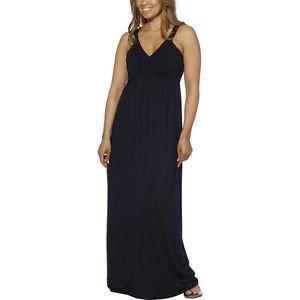 Design History Ladies Maxi Long Dress~Braided Bodice~BLACK~Sz-S~Jersey Knit~NWT