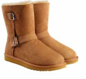 KIRKLAND Women's Australian Skeepskin Shearling Buckle Boots~Chestnut~Sz-8~NWT