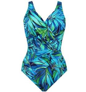 Kirkland by Miraclesuit 1 Pc Swimsuit~Tropical~10 lbs slimmer~8~Blue/Green~NWT