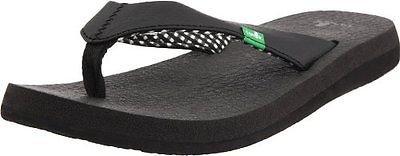 SANUK Women's Yoga Mat Vegan Flip Flop Sandals~Black Ebony~Sz-7~NWT