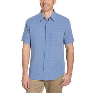 Age of Wisdom Men's Button down Short Sleeve Shirt~Sz-L & XL~Blue~NWT