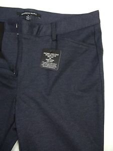 Andrew Marc Women's Ponte Stretch Pant Semi-fitted Tapered Leg  NAVY Twill Sz-8