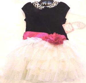 Jona Michelle Girls Velvet Boutique Dress~Black/White/Pink~Sz-2t~NWT