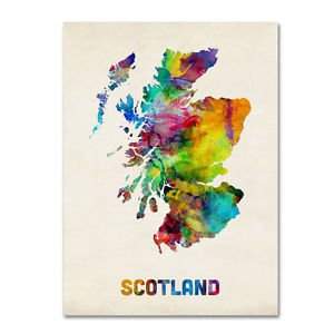 Trademark Fine Art Scotland Watercolor Map Canvas by Michael Tompsett~35x47x2""