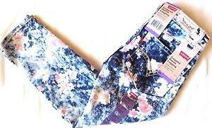 Levi's Girl's Stretchy Cropped Denim Legging Adjustable Pants~Flowers~Sz-8~NWT