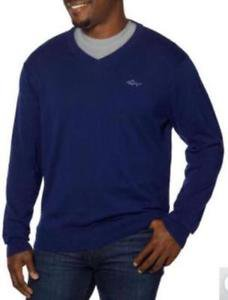 Greg Norman Natural Performance Men's V-Neck Sweater~BLUE~Sz-XL~NWT
