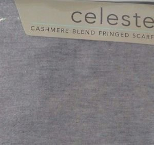 """Celeste Womens Cashmere Blend Fringed Scarf~Gray~70""""x12""""~New"""