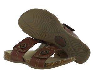 Earth Origins Women's Leather Slip On Tessa Sandal~Brown~Sz-8.5 & 9~NEW~ret $79