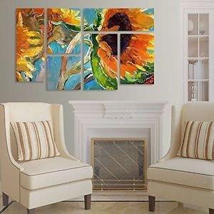 Trademark Fine Art Wall Decor Sunflower By Richard Wallich~6-Panel Set~3.9'x2.3'