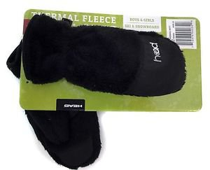 Head Toddlers Thermal Fleece Winter Gloves / Mittens Unisex~BLACK~Ages 1-6