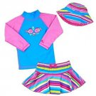 UV SKINZ Girl's 3 pc SwimSuit Set UPF 50+Swimwear~Fish w/Stripes~Sz-7~NWT