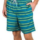 Kirkland Men's Swim Suit Shorts Trunks~Blue/Green Stripe~Size~2XL~NWT