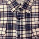 JACHS MFG Men's Heavy Flannel Long Sleeve Plaid Shirt~Cream/Gray/Rust~Sz-M~NWT