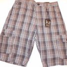AGE OF WISDOM Men's Cargo Utility Casual Shorts~Grey/Blue Plaid~Sz-34~NWT