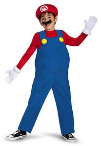 Disguise Super Mario Boys Halloween Costume Set w/Gloves/Mustache/Hat~Sz-7/8~NWT