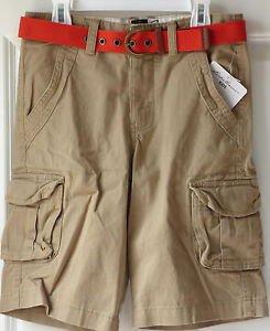 EDDIE BAUER Boy's Cargo Shorts~Khaki w/Belt~Size 8~NWT~MSRP-$38.