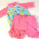 UV SKINZ 3 pc swimset Top/Short/Hat~Swim/Play~Pink~Mermaids~UPF 50+~12-18 mo~NEW