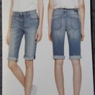 DKNY Women's Bermuda Stretch Skinny Crop Cuffed Jean Shorts~Gray~Sz-12~NWT