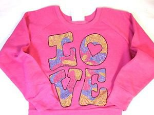 Signorelli Girls Pullover Fleece LS Sweatshirt~Pink~M 7/8~LOVE Rhinestones~NWT