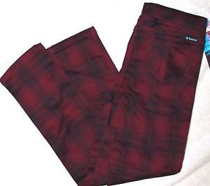 Tractor Girl's Pull-on Stretch Skinny Jean Jegging Pants~Sz-7~Berry Plaid~NWT