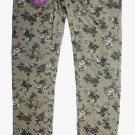 VIGOSS JEANS Girl's Skinny Knit Waistband Legging Pants~Olive~Flowers~Sz-14~NWT