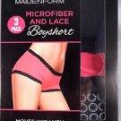Maidenform Ladies 3 Pack Microfiber & Lace Boyshorts~Size-Small~NIB
