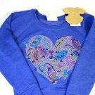Signorelli Girls Pullover Sweatshirt Fleece~Blue~Sm 5-6~Heart Rhinestones~NWT