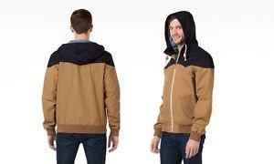Oak & Rush Men's Hooded Franchise Zip Jacket Coat~Navy/Tan~Sz-S~NWT-ret-$100.