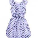 BLUSH by Us Angels Girl's White/Blue Polka Dot Bubble Hem Dress~Sz-12~NWT