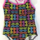 SPEEDO Girls 1 Piece Swimsuit~NEON HEARTS~Pink/Black~UPF Protection~Sz-6, 7~NWT
