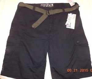 Wear First Men�s 685 LEGACY Belted Cargo Casual Shorts~Marine Navy~Sz-32~NWT