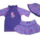 UV SKINZ Girl's 3 pc SwimSuit Set UPF 50+Swimwear~Purple SeaHorse~Sz-7~NWT