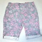 Tractor Girl's Pull on Stretch Bermuda Shorts~Sz-8~PINK Flowers~NWT