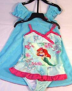 Disney Ariel 2 pc set Swimsuit w/Terry Cover-up~Sz-3t~Aqua/Pink~UPF 50~NWT