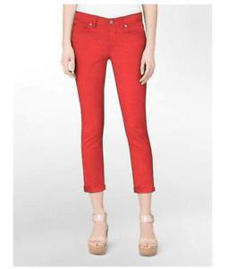 Calvin Klein Jeans Womens Power Stretch Skinny Crop Pant~Wildflower Red~Sz-6~NWT
