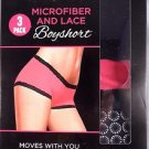 Maidenform Ladies 3 Pack Microfiber & Lace Boyshorts~Size-M~NIB
