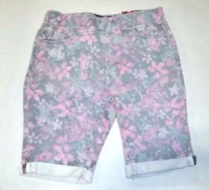 Tractor Girl's Pull-on Stretch Bermuda Shorts~Sz-14~PINK Flowers~NWT