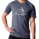 Adidas Men's Climalite Performance S/S Logo Crew Tee Shirt~Gray~Sz-M, L, XL~NWT