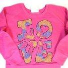 Signorelli Girls Pullover Fleece LS Sweatshirt~Pink~Sm 5/6~LOVE Rhinestones~NWT
