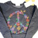 Signorelli Girls Pullover SweatShirt~Gray~Sm 5-6~Peace Rhinestone~NWT~ret $48