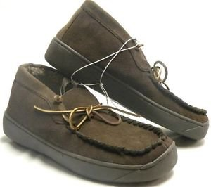 Merona~Leather Indoor/Outdoor Moccasin Faux Fur Boot~Slippers~Brown~Sz-9~NWT