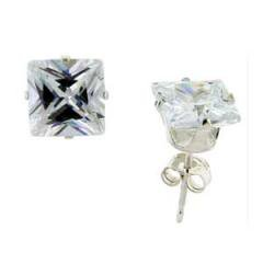 7 Mm Square 4.00 Carat Princess Cut Cz Sterling Silver Stud Earrings