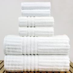 Luxury Hotel & Spa Towel 100% Genuine Turkish Cotton 6 Piece Towel Set -White- Stripe