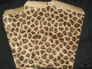 """**New Price**   50, Exotic Leopard Paper Gift Bags 4""""x6""""  Add an Exotic Look, Wholesale"""