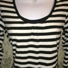 NEW YORK CO knit stretch 3/4 sleeve top black white metallic stripe scoop neck M