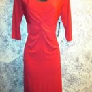 NEW red dress ruched bust knot v-neck line slinky stretch Valentine sizes XS S