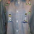 Black gingham check lighthouse applique button down shirt LAS OLAS women's M
